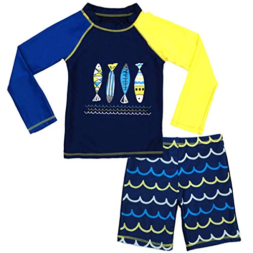 Boys Two Piece Rash Guard Swimsuits Kids Long Sleeve, Fish, Size 6-7 Years