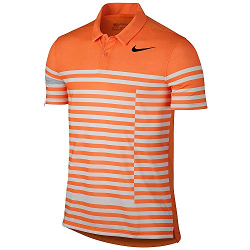 Nike Modern Fit Transition Dry 4/1 Printed Golf Polo 2017 Bright Mandarin/Black Small