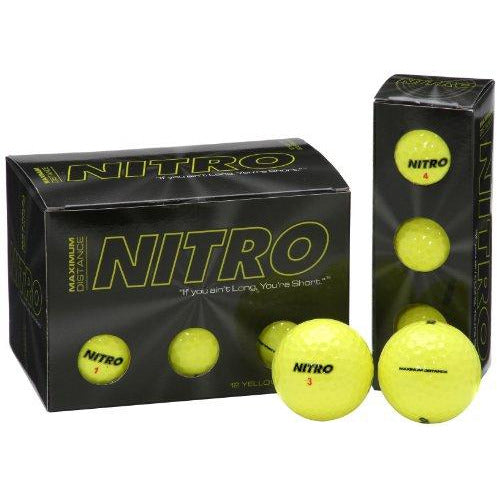 Long Distance Golf Balls (12Pk) All Levels-Nitro Maximum Distance Titanium Core 85 Compression High Velocity Spin Control Long Dis