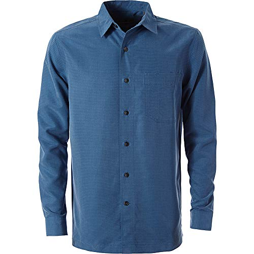 Royal Robbins Men's Desert Pucker Dry Long Sleeve Button Down Shirt, Dark Blue, Medium