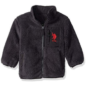 Us Polo Association Boys' Toddler Sherpa Fleece Reversible Jacket, Black/Charcoal, 3T