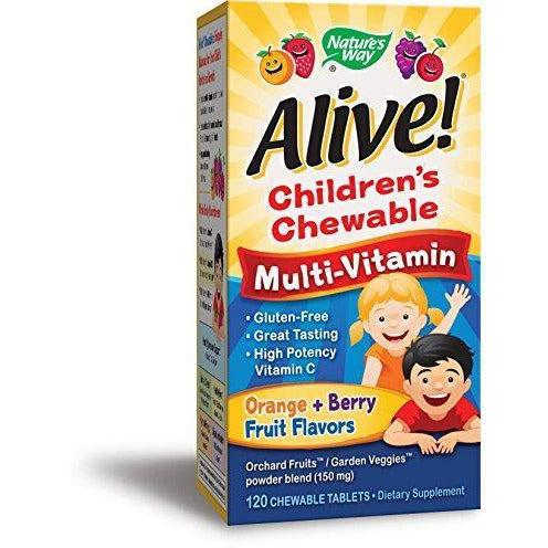 Nature'S Way Alive! Children'S Premium Chewable Multivitamin, Fruit And Veggie Blend (150Mg Per Serving), Gluten Free, 120 Chewable Tablets