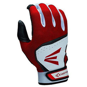 Easton Youth HS7 Batting Gloves, White/Red, X-Large