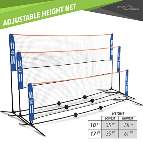 Hit Mit Adjustable Height Portable Badminton Net Set - Competition Multi Sport Indoor Or Outdoor Net For Playing Pickleball, Kids