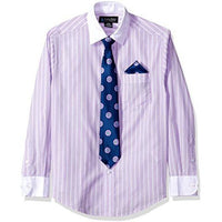 Steve Harvey Boys' Big Long Sleeve Solid Shirt And Tie Set, Lavendula Stripe, 8