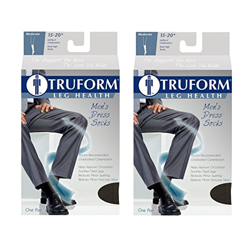 Truform Men'S Knee High 15-20 Mmhg Compression Dress Socks, Navy, Large (Pack Of 2)