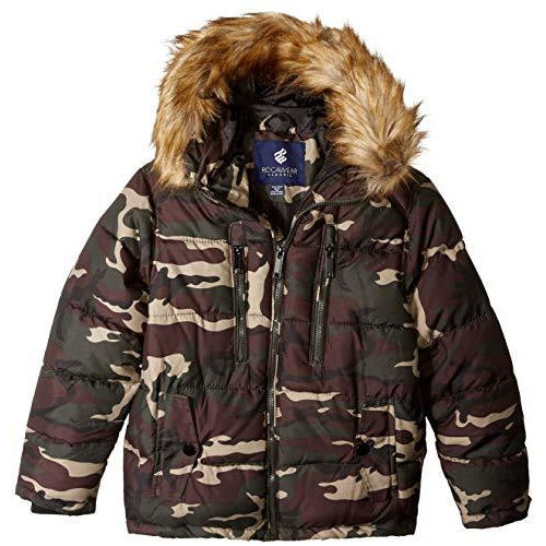 Rocawear Boys' Little Hooded Bubble Jacket, Olive camo, 5/6