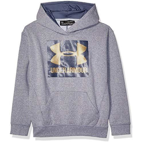 Under Armour Girls Threadborne Fleece Hoodie,Apollo Gray /Gold, Youth Large