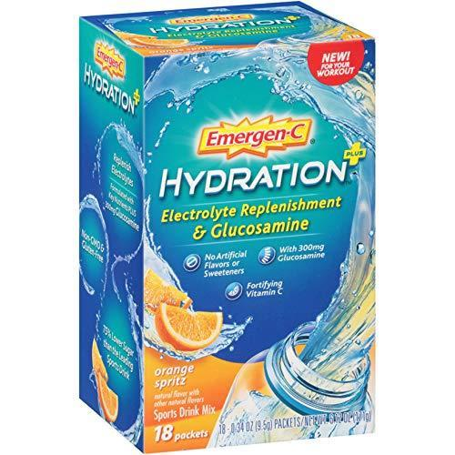 Emergen-C Hydration+ (18 Count, Orange Spritz Flavor) Sports Drink Mix With Vitamin C, Electrolyte Replenishment, 0.34 Ounce Packets
