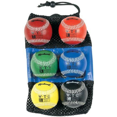 Markwort 9-Inch Leather Cover Weighted Baseball Set (1 Each 7Oz, 8Oz, 9Oz, 10Oz, 11Oz, 12Oz)