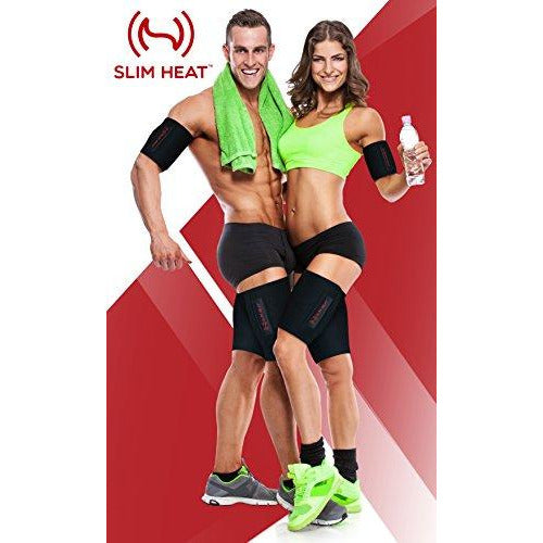 Slim Heat Arm & Thigh Trimmers for Women & Men (4-Pc Set) - Increases Heat & Sweat Production - Helps Reduce Cellulite - Body Wraps for Slimmer Body & Toned Muscles - Free Carry Bag