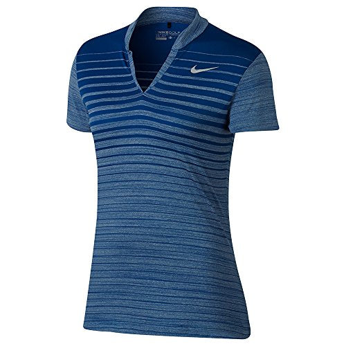 Nike Zonal Cooling FA Print Short Sleeves Golf Polo 2017 Women Blue Jay/Flat Silver X-Small