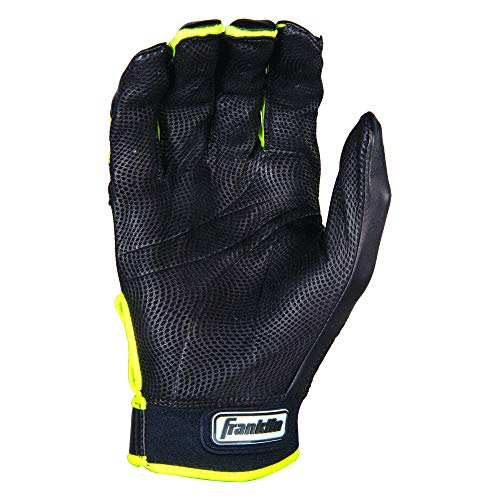 Franklin Sports Mlb David Ortiz Cfx Pro Signature Series Batting Glove, Black/Optic Yellow, Small, Pair
