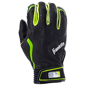 Franklin Sports MLB Freeflex Series Batting Gloves, Black/Black Adult Large