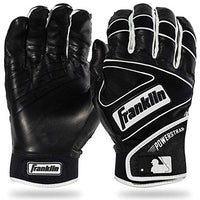 Franklin Sports MLB Power Strap Batting Gloves, Black/Black - Youth Medium