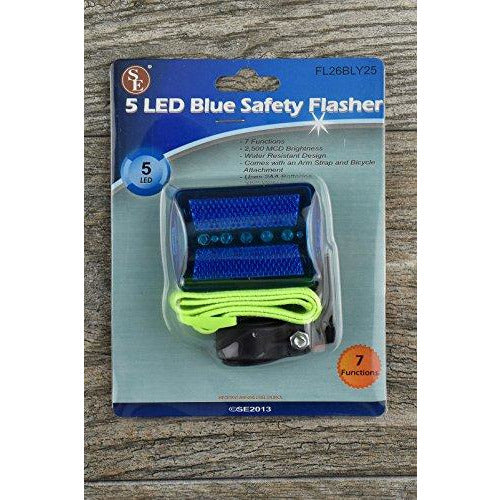 Se Fl26Bly25 5-Led Blue Safety Flasher With Bicycle Attachment And Arm Strap