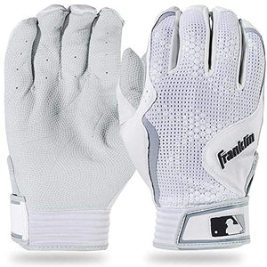 Franklin Sports MLB Freeflex Series Batting Gloves, White/White Youth Large