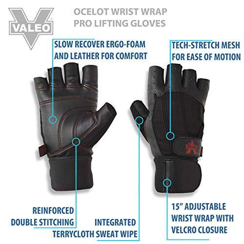 Valeo Wrist Wrap Padded Ocelot Lifting Gloves, Gym Gloves, Workout Gloves, Exercise Gloves For Powerlifting, Cross Training, Rowin