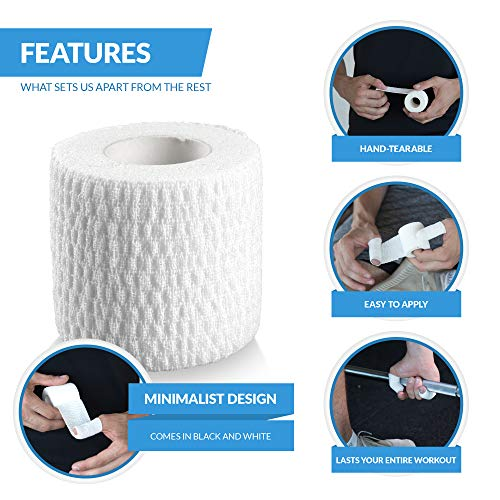 Oly Grip: Weightlifting Thumb Hook Grip Cotton Tear Stretch Tape (6 Rolls) White - Weight Lifting - Crossfit - Gymnastics - Keep Fingers and Hands Safe During Workout