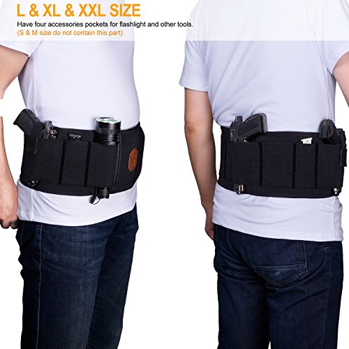 Fullmosa Concealed Carry Holster, Mi Belly Band Holster for Handgun, Elastic Hand Gun Holder Waist Holsters Pistols Revolvers IWB Holster with Mag Pouches, Back Draw -B-M