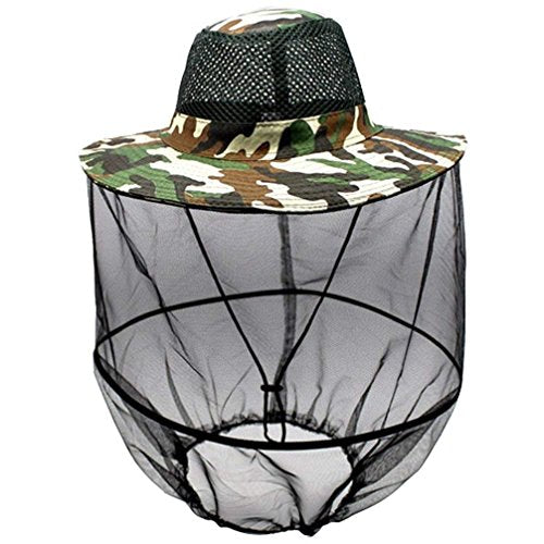 Luwint Mosquito Head Net Hat, Camo Sun Hat Beekeeper Hat with Insect Repellent Netting Protection from Bug Bee Mosquito for Outdoor Fishing Gardening Camping Hiking Beekeeping (Green Camo)