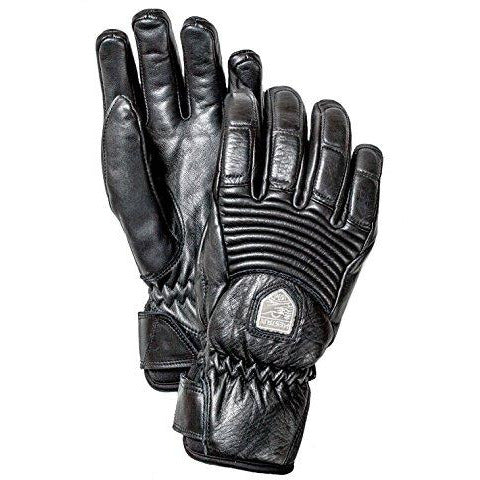 Hestra Womens Ski Gloves: Fall Line Leather Cold Weather Winter Gloves, Black, 7