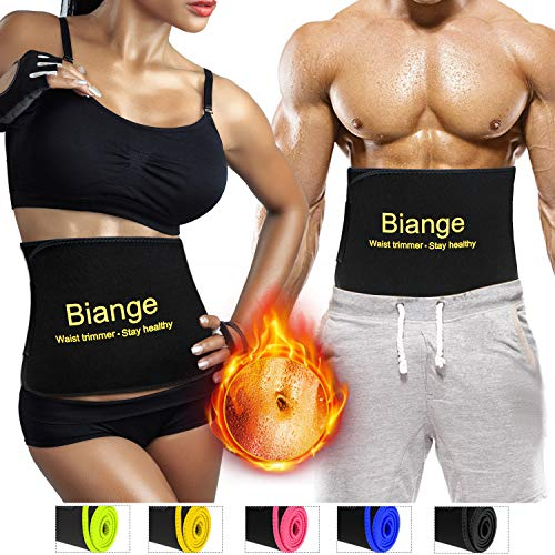 Biange Plus Size Waist Trimmer for Women & Men Sweat Waist Trainer Slimming Belt, Stomach Wraps for Weight Loss, Neoprene Ab Belt Low Back and Lumbar Support