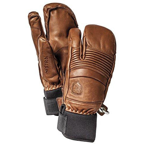 Hestra Mens Ski Gloves: Fall Line Winter Cold Weather Leather 3-Finger Mittens, Brown, 8