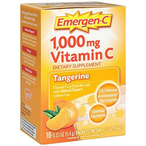 Emergen-C (10 Count, Tangerine Flavor) Dietary Supplement Fizzy Drink Mix With 1000Mg Vitamin C, 0.33 Ounce Packets, Caffeine Free