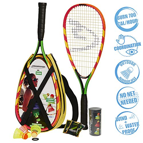 Speedminton S600 Set - Original Speed €‹€‹Badminton / Crossminton Starter Set Including 2 Rackets, 3 Speeder, Speedlights, Bag