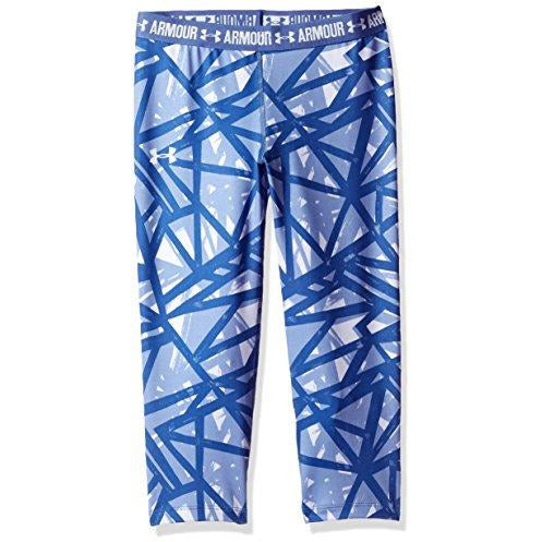 Under Armour Girl's HeatGear Armour Printed Capris, Lavender Ice (500)/Lavender Ice,