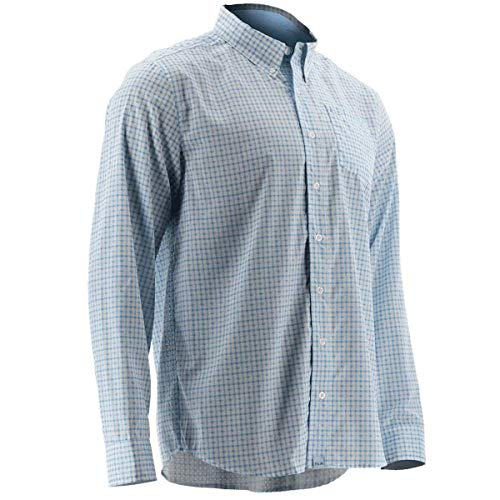 Huk Nxtlvl Santiago Classic Button Down Long Sleeved Shirt, Ice Blue, 2X-Large
