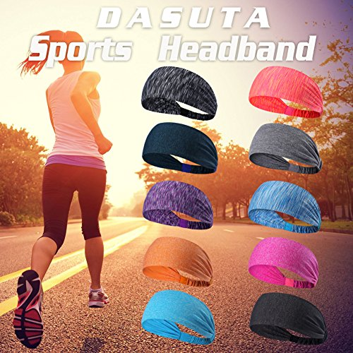 DASUTA Set of 10 Women's Yoga Sport Athletic Headband for Running Sports Travel Fitness Elastic Wicking Workout Non Slip Lightweight Multi Headbands Headscarf fits All Men and Women