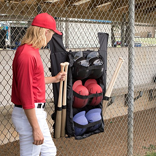 Champion Sports Baseball Bat And Helmet Bag Hanging Dugout And Travel Bags For 6 Bats And 6 Helmets
