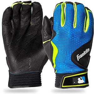 Franklin Sports Mlb Freeflex Series Batting Gloves, Black/Electric Blue Adult X-Large