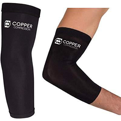 Copper Compression Recovery Elbow Sleeve - Guaranteed Highest Copper Content Elbow Brace Tendonitis Golfers Tennis Elbow