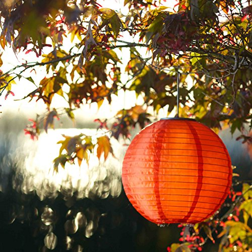 Allsop Home And Garden Soji Original 10€� Round Led Outdoor Solar Lantern, Handmade With Weather-Resistant Uv Treated Nylon, Stai