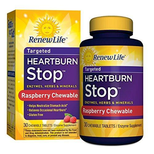 Renew Life Adult Digestive Enzyme - Heartburn Stop, Enzyme Supplement - Raspberry Flavor, 30 Chewable Tablets