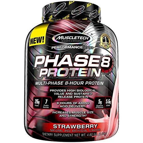 Muscletech Phase8 Protein Powder, Sustained Release 8-Hour Protein Shake, Strawberry, 73.6 Ounce, Pack Of 1