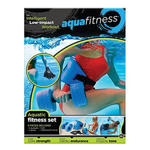 Aqua 6 Piece Fitness Set, Water Aerobics, Aquatic Low Impact Workout, Flotation Belt, Resistance Gloves, Barbells
