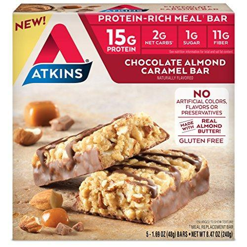 Atkins Protein-Rich Gluten Free Meal Bar, Chocolate Almond Caramel, 5 Count