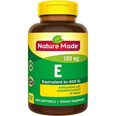 Nature Made Vitamin E 180 mg (400 IU) dl-Alpha Softgels, 300 Count Value Size for Antioxidant Support