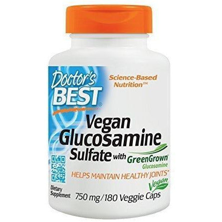Doctor'S Best Vegan Glucosamine Sulfate Joint Support Non-Gmo Vegan Soy Free 750 Mg 180 Veggie Caps