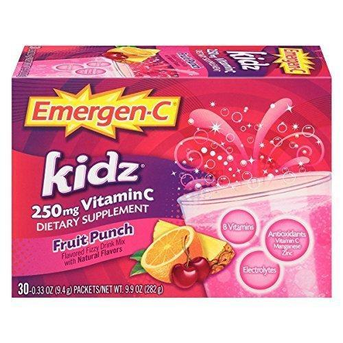 Emergen-C Kidz (30 Count, Fruit Punch Flavor, 1 Month Supply) 250Mg Vitamin C, 0.33 Ounce Packets