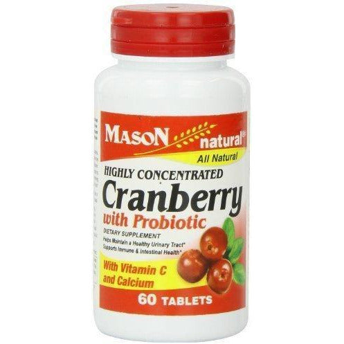 Mason Vitamins Cranberry With Probiotic And Added Vitamin C And Calcium Tablets, 60 Count