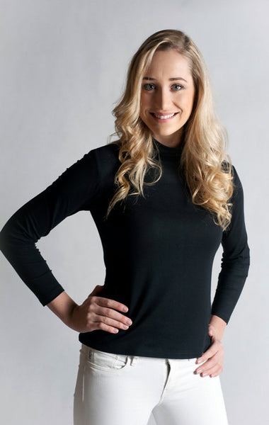 Skivvy,Long Sleeve, Turtle Neck- NOIR BLACK