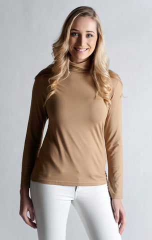 #Skivvy,Long Sleeve, Turtle Neck- CAMEL BEIGE
