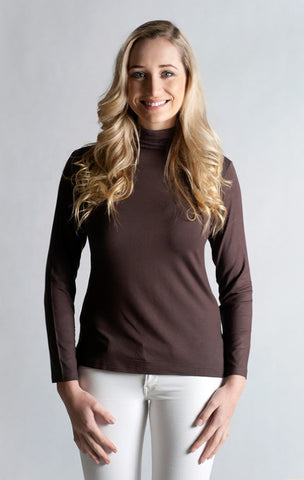 #Skivvy, Long Sleeve, Turtle Neck - CHOCOLATE BROWN