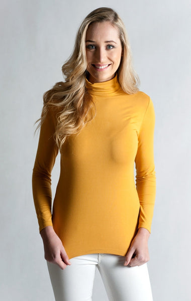#Skivvy, Long Sleeve, Turtle Neck- MOUTARDE YELLOW