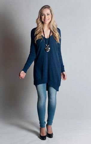 Knitwear-Oversized V Neck Boyfriend Sweater- Denim Blue